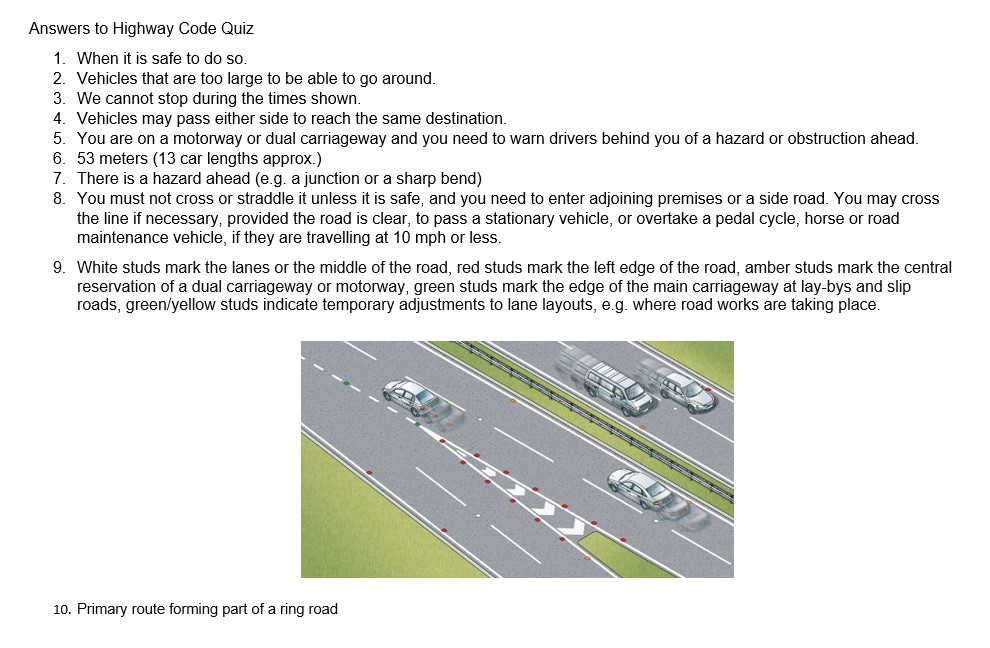 Answers to Highway Code quiz