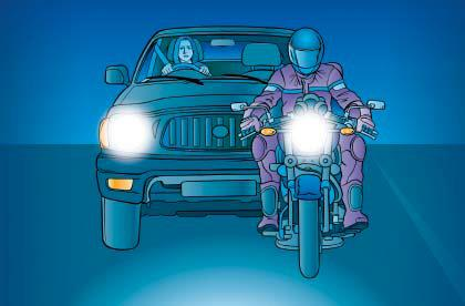 Being seen at night on a motorcycle