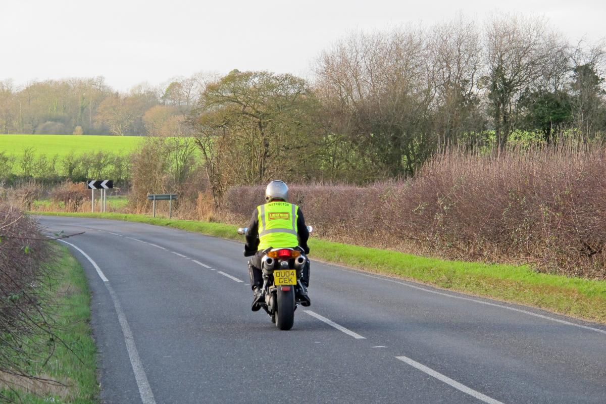 Motorcyclist approaching bend