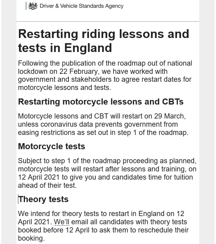 DVSA Roadmap to the return of motorcycle training