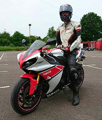 Red and white Yamaha R1